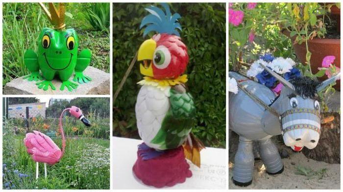 как украсить сад дома пластиковыми бутылками