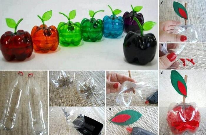 как сделать яблоко из бутылки